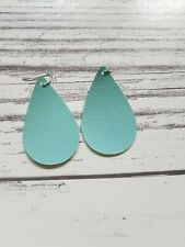 MINT faux Leather Teardrop Earrings Turquoise jewelry ONLY $5 per pair