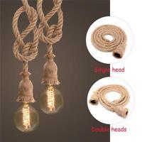 Vintage Hanfseil Elektrokabel für DIY E27 Edison Birne Pendelleuchte Decor Lampe