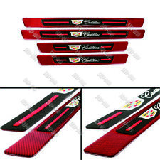 4Pcs Cadillac Red Carbon Fiber Car Door Welcome Plate Sill Scuff Cover Panel