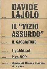 """LIBRO - Il """"vizio assurdo"""", Lajolo, Il saggiatore, 1967"""