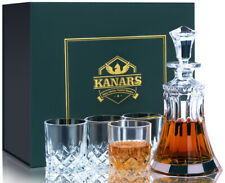 More details for crystal whisky decanter & glass set with luxury gift box for father day birthday