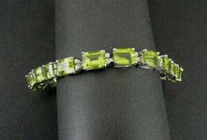 Bracelet Sterling Peridot Green Rectangle Stones Silver 925 Tennis Bracelet