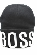 Men Hip Hop Knit Beanie Cap Hat Silver 3D BOSS Bling Black Warm Winter Fashion