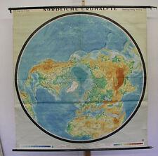 Wandkarte Nördliche Erdhälfte Nordpol Arktis 170x179 vintage North Pole map~1957