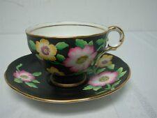 VINTAGE ADDERLEY BLACK TEA CUP & SAUCER with FLOWERS