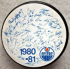 Vintage NHL Edmonton Oilers 1980-81 Esso Facimile Team Signed Hockey Puck