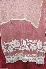Antique Curtain Panel  Woven Fishnet  Cotton w Fringe Ecru 42 wide 70 long