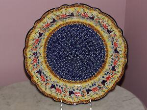 Polish Pottery Medium Scalloped Platter! UNIKAT Signature Butterfly Summer!
