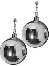 Womens 70s Disco Fever Disco Ball Silver Earrings Costume Accessory