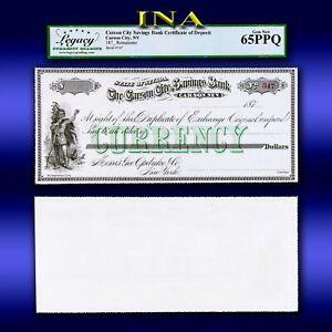 Nevada Carson City Savings Bank Payable at Geo Opdyke Co NY LEGACY Gem 65 PPQ