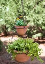 Clay Terra Cotta Pot Handmade Hanging Two Tier Chain Plants Herbs Garden Yard