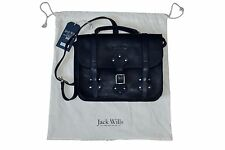 Jack Wills Ladbroke Soft Leather Satchel Bag Navy BNWT Made In England Bargain
