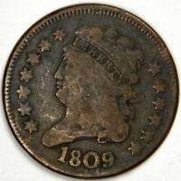 1809 HALF CENT ~ FINE ~ 180 DEGREE ROTATED REVERSE (MEDALLIC ALIGNMENT ERROR)!