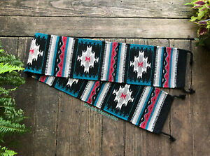 """Blue and Black 10"""" x 80"""" Hand Woven Wool Southwest Table Runner, Southwestern"""