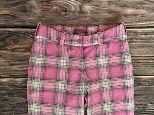 Women's Nike Golf Tour Performance Pink Plaid Golf Pants Size 2 NICE
