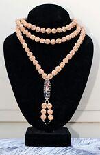 "Large 108 8.5mm Rudraksha Bodhi Seeds Prayer Beads Mala Necklace 36"" w 9-eye dZi"