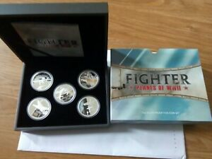 2008 Tuvalu 1oz silver proof five-coin set --Fighter planes of WWII
