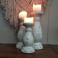 Balinese Whitewash Candlestick Candle Set of 3 Vintage Shabby Chic 70C