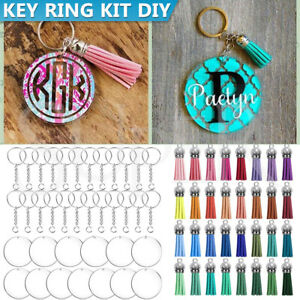 90PCS Clear Key Ring DIY Kit Acrylic Circle Discs Keychain Craft Tassel Pendant
