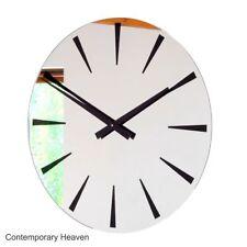 ROCO verre extra large noir chevron Miroir Horloge murale