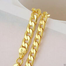 """Mens Womens 24""""/8mm 24k Gold Filled Necklace Solid Curb Chain GF Jewelry"""
