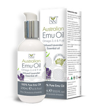 100 Pure Australian EMU Oil Infused Lavender 200ml Bottle With Twist Lock Pump