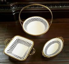 3 Antique German Wachtersbach Ormolu Bronze Trim Reticulated Porcelain Baskets