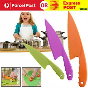 3 Pc Kids Kitchen Knife Plastic Fruit Safe Knife For Bread Lettuce Salad HOT!