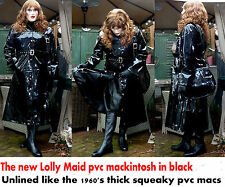 heavy squeaky unlined  shiny black wet look thick pvc vinyl  raincoat TV