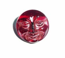 Cool Czech Glass Shank Moon Face Button 18mm - Fuchsia w/ Copper Color on Top