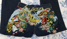 MS&Co Ed hardy Dark Blue Rare Limited Japan Embroidered Men's Jeans Size 36x34