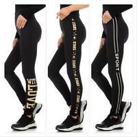 Damen Leggings Trainingshose Leggins Hose Fitness Sporthose Yoga Wellness Gold