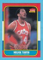 1986-87 Fleer Basketball Mel Turpin # 116 Cavalers