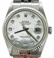 Rolex Stainless Steel/18K White Gold Datejust FACTORY White MOP Diamond 16234