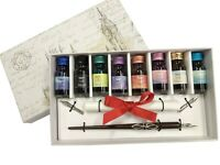 Wooden dip pen with 8 coloured inks,two extra nibs, and Calligraphy Sheet