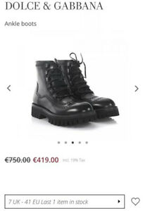 dolce and gabbana Combat Chunky Ankle Platform Boots Leather Uk7 Rrp€750