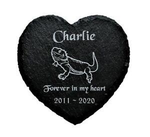 Personalised Slate Heart Pet Memorial Grave Marker Plaque Lizard Bearded Dragon