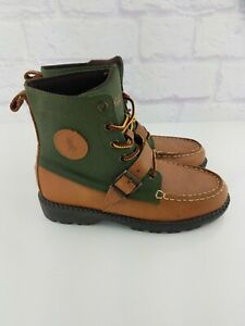 Polo Ralph Lauren Boys Ranger HI II Boot - Big Kid Tan Leather / Green Size 2.5Y