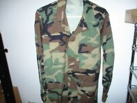 COAT, TEMPERATE BDU WOODLAND CAMO, TYPE 1-COTTON BLEND-UNISSUED-SMALL/REGULAR