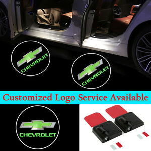 2x Green Chevrolet Logo Car Door Courtesy LED Lights Wireless Laser Projectors
