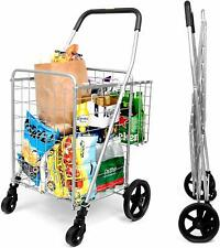 Folding Shopping Cart Double Basket 360° Rolling Swivel Wheels Grocery portable