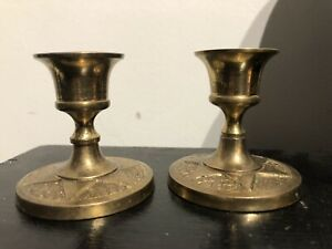 Pair Of Vintage Brass Candle Holders (Church Salvage) Small.