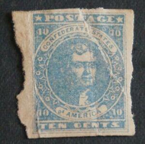 1862  CSA#6, 10c Confederate States T Jefferson - blue, soft paper, Mint ***