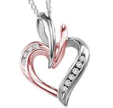 Pendant Necklace In 925 Sterling Silver Designer Genuine White Round Stone Heart