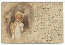 1900 Gruss aus Prüm* Kind mit Puppe einen Vogel betrachtend