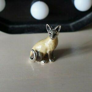Sterling Silver & Enamel Siamese Cat by Saturno sculpture figurine Feline 2