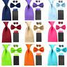Men Solid Bowtie 8cm Necktie Pre-folded 4 Folds Hanky Pocket Square Cufflink Set