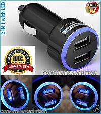 2 PORT DOUBLE USB LED UNIVERSAL CAR CHARGER 12v FAST FREE UK 1ST CLASS DELIVERY