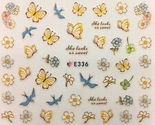 Nail Art 3D Decal Stickers Pale Yellow Flowers & Butterlies w/ Blue Birds E336