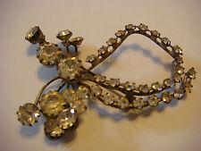 "Vintage Silver BOW PIN BROOCH Rhinestones AUSTRIA 2 1/2 "" x 1 3/4 """